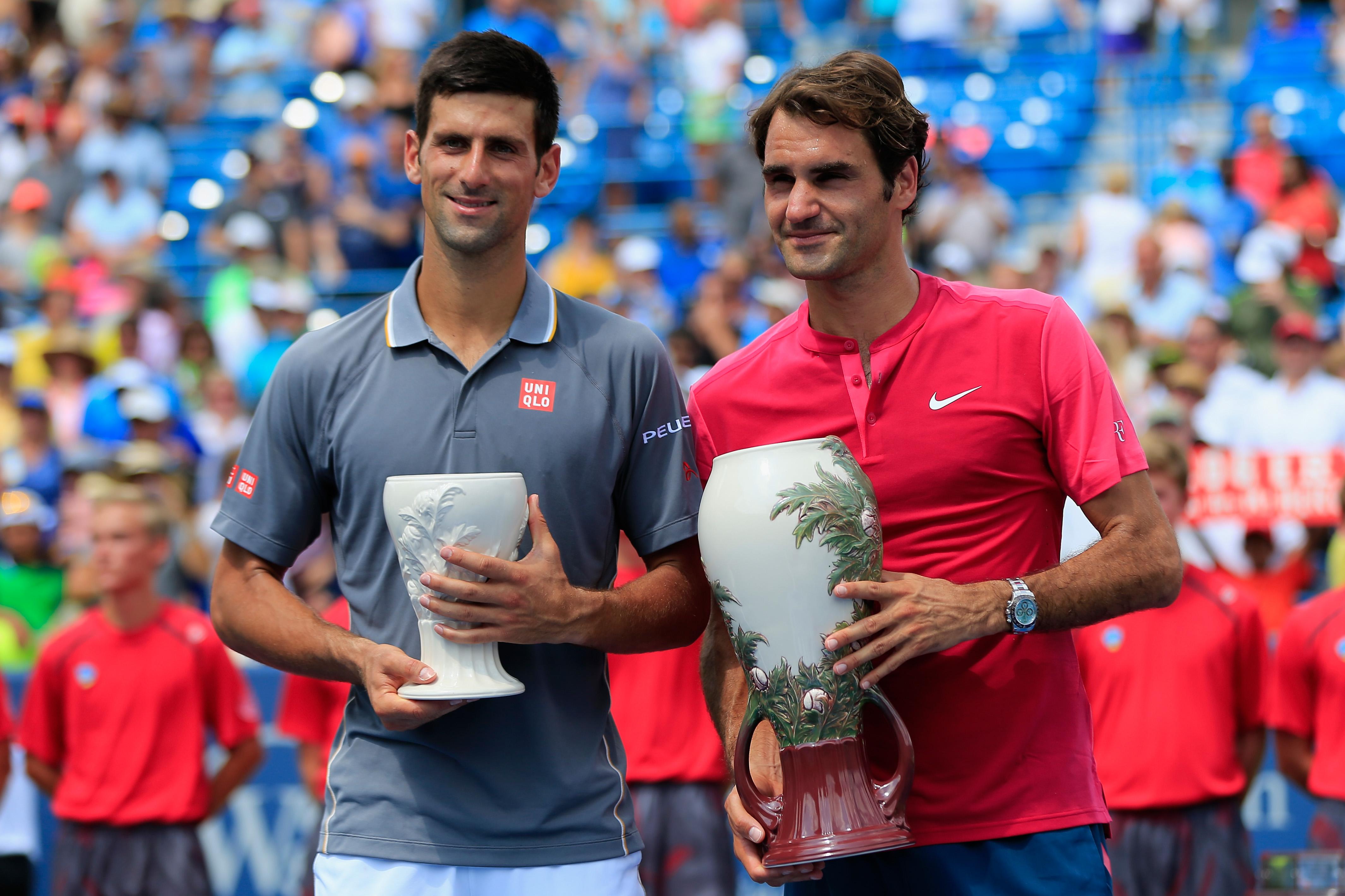 Novak Djokovic og Roger Federer