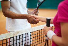 Handshake of tennis players