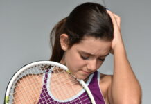 Confused Stressed Teen Female Tennis Player
